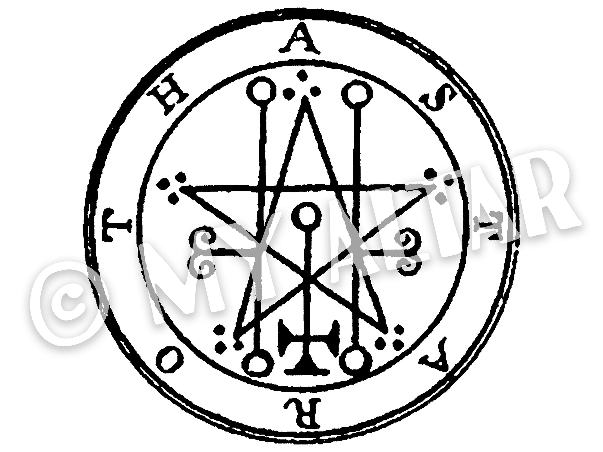 "Set of 2 Large 5"" Astaroth 29th Lesser Seal Goetia Solomon Invocation Sigil Waterproof Temporary Tattoos"
