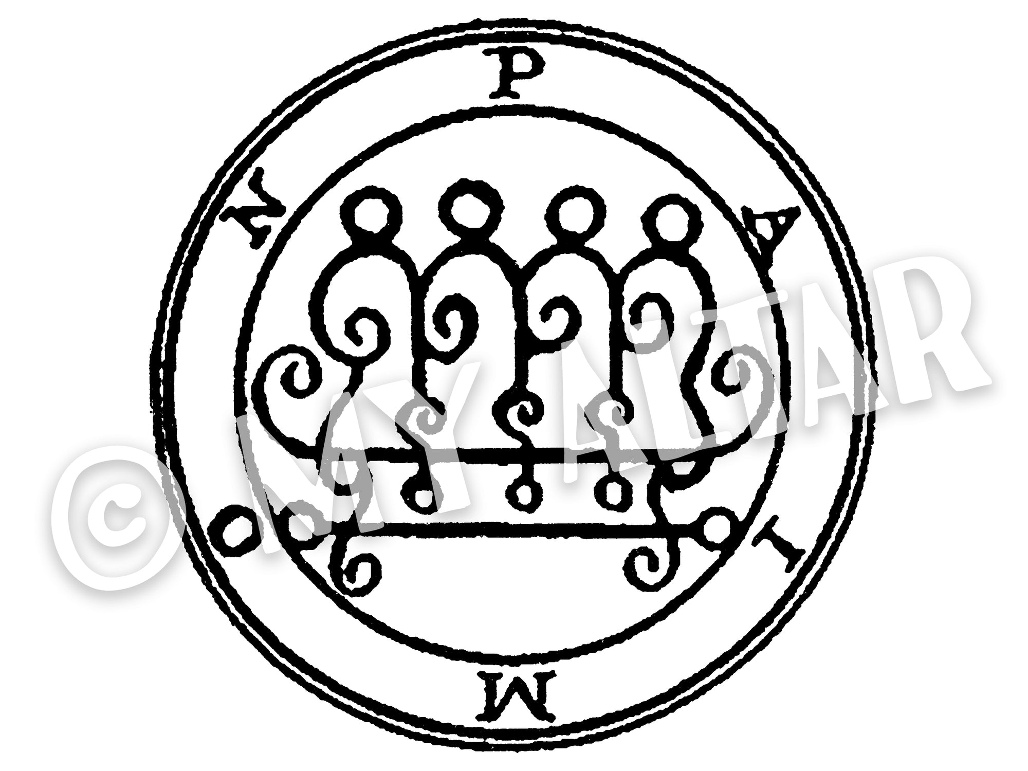 "Set of 2 Large 5"" Paimon 9th Lesser Seal Goetia Solomon Invocation Sigil Waterproof Temporary Tattoos"