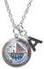 "My Altar Met Agwe Protection Animals Travel Voodoo and Initial Charm Steel 24"" Necklace"