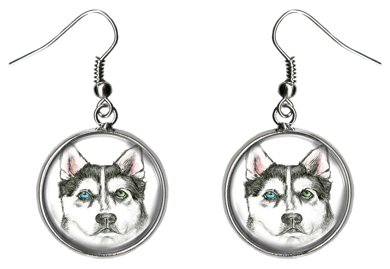 Alaskan Husky Dog Silver Hypoallergenic Stainless Steel Earrings