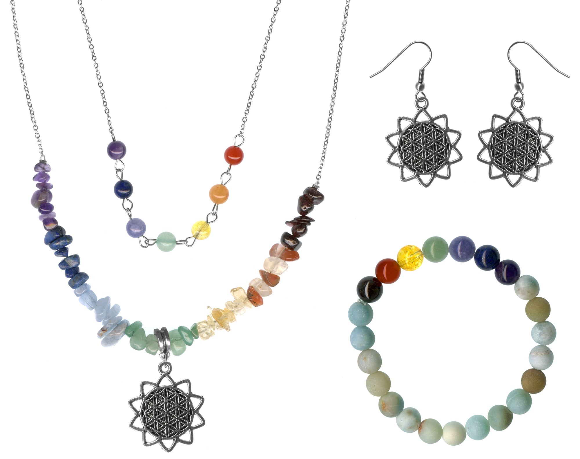 Flower of Life Multi Gem Necklace, Earrings & Frosted Amazonite Gemstone Chakra Jewelry Set