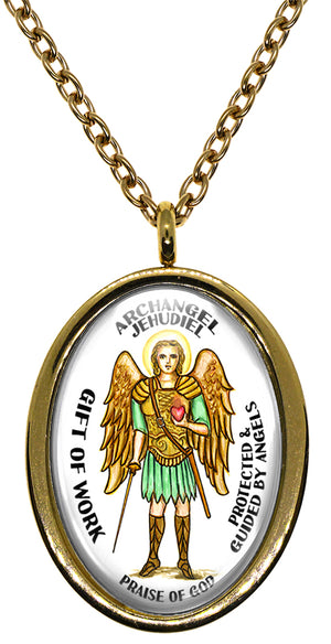 My Altar Archangel Jehudiel Gift of Work Protected by Angels Steel Pendant Necklace