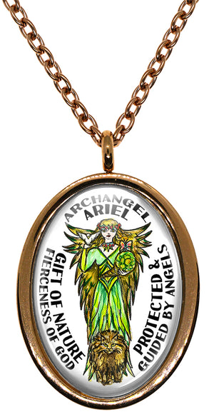 My Altar Archangel Ariel Gift of Nature Fierceness of God Protected by Angels Steel Pendant Necklace