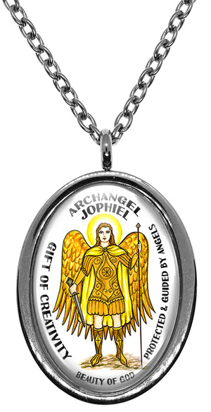 My Altar Archangel Jophiel Gift of Creativity Protected by Angels Steel Pendant Necklace