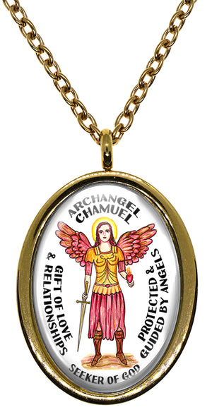 My Altar Archangel Chamuel Gift of Love & Relationships Protected by Angels Steel Pendant Necklace