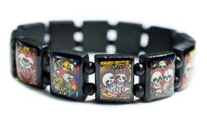 Sanguine Skulls Day of the Dead Black Wood Stretch Prayer Bracelet
