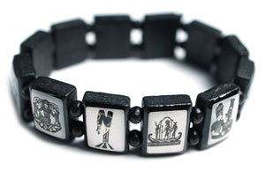 Ancient Egyptian Symbols Black Wood Stretch Prayer Bracelet