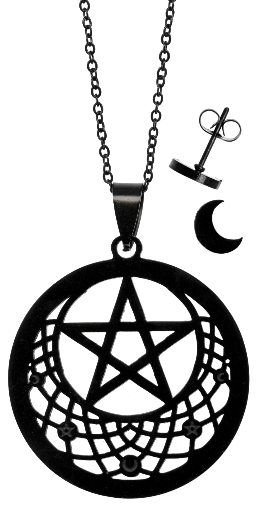 Pentacle Crescent Moon Wicca Black Stainless Steel Necklace and Stud Earrings Set