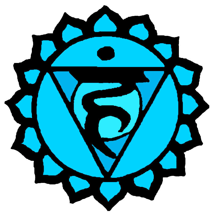 5th Chakra Blue Vishuddha Expression Waterproof Temporary Tattoos Lasts 3 to 4 days Choose Small, Medium or Large Sizes