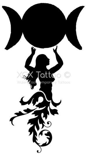 Triple Moon Goddess Waterproof Temporary Tattoos Lasts 3 to 4 days Choose Small, Medium or Large Sizes