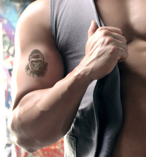 Gorilla Waterproof Temporary Tattoos Lasts 3 to 4 days Choose Small, Medium or Large Sizes