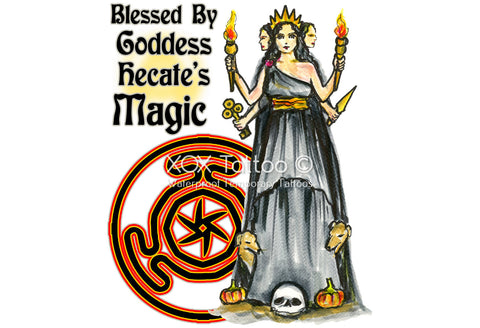 Blessed By Goddess Hecate's Magick Waterproof Temporary Tattoos Lasts 3 to 4 days Choose Small, Medium or Large
