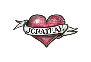 Custom Message or Name Heart Banner Waterproof Temporary Tattoos Lasts 3 to 4 days