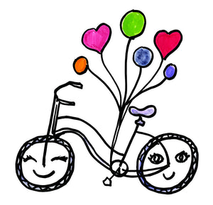 Cute Bike with Balloons Waterproof Temporary Tattoos Lasts 3 to 4 days Choose Small, Medium or Large Sizes