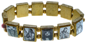 Jesus and Mary Brown Bohemian Wood Stretch Prayer Bracelet