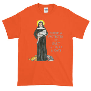 Guided & Protected By Saint Gertrude & Cats Adult Unisex T-shirt