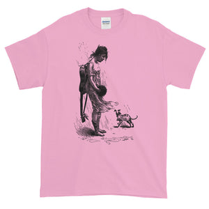 Beautiful Nude Violinist with Puppy Dog in the Rain Adult Unisex T-shirt