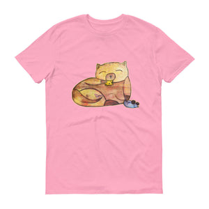 Whimsical Cute Kitty Cat with Mouse and Cheese Unisex T-shirt