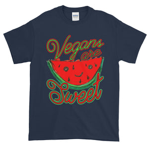 Vegans are Sweet Whimsical Watermelon Adult Unisex T-shirt