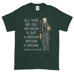 Edgar Allan Poe Dream within a Dream Portrait Adult Unisex T-shirt