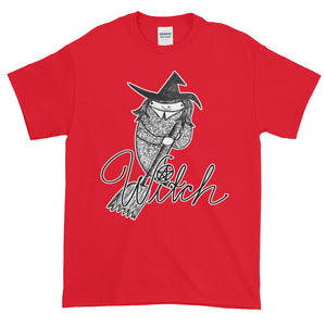 Whimsical Witch with Broom Adult Unisex T-shirt