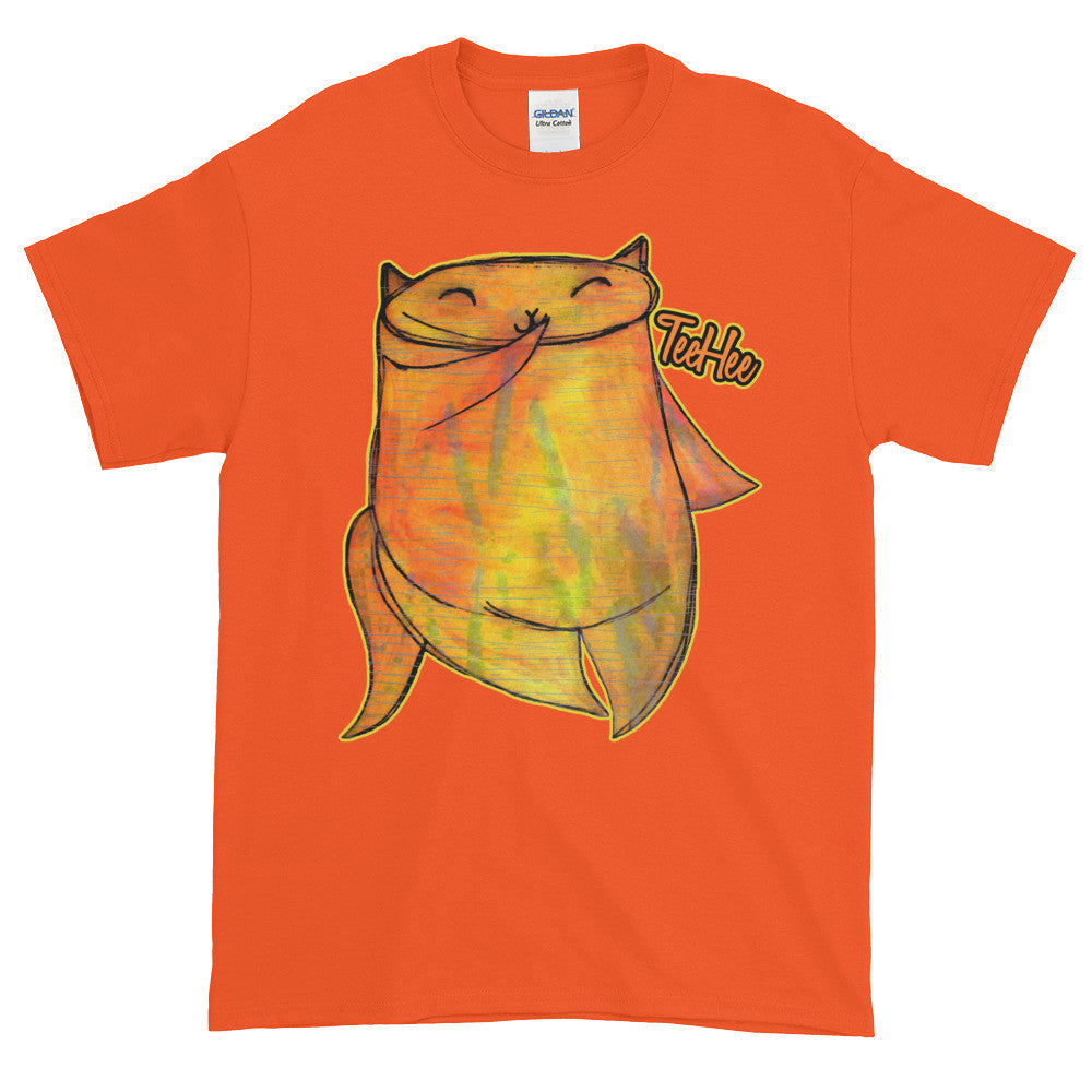 TeeHee Shy Cute Chubby Orange Kitty Cat Adult Unisex T-shirt