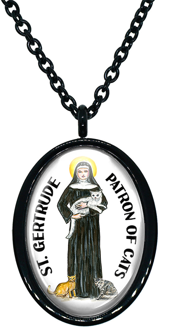 My Altar Saint Gertrude Patron of Cats Stainless Steel Pendant Necklace