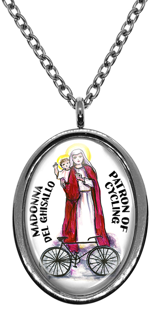 Madonna del Ghisallo Patron of Cycling Stainless Steel Pendant Necklace