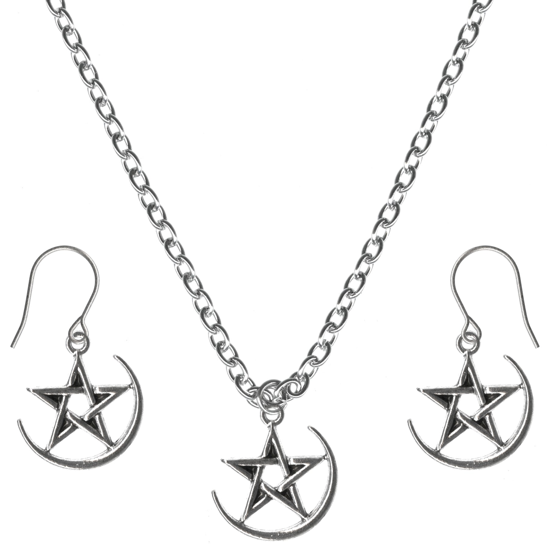 Pentacle Crescent Moon Charm Steel Chain Necklace and Hypoallergenic Titanium Earrings Set