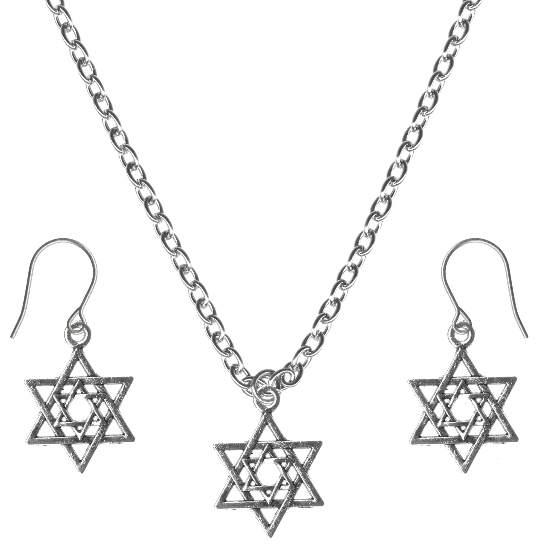 Interlocking Star of David Hexagram Small Charm Steel Chain Necklace and Hypoallergenic Titanium Earrings Set