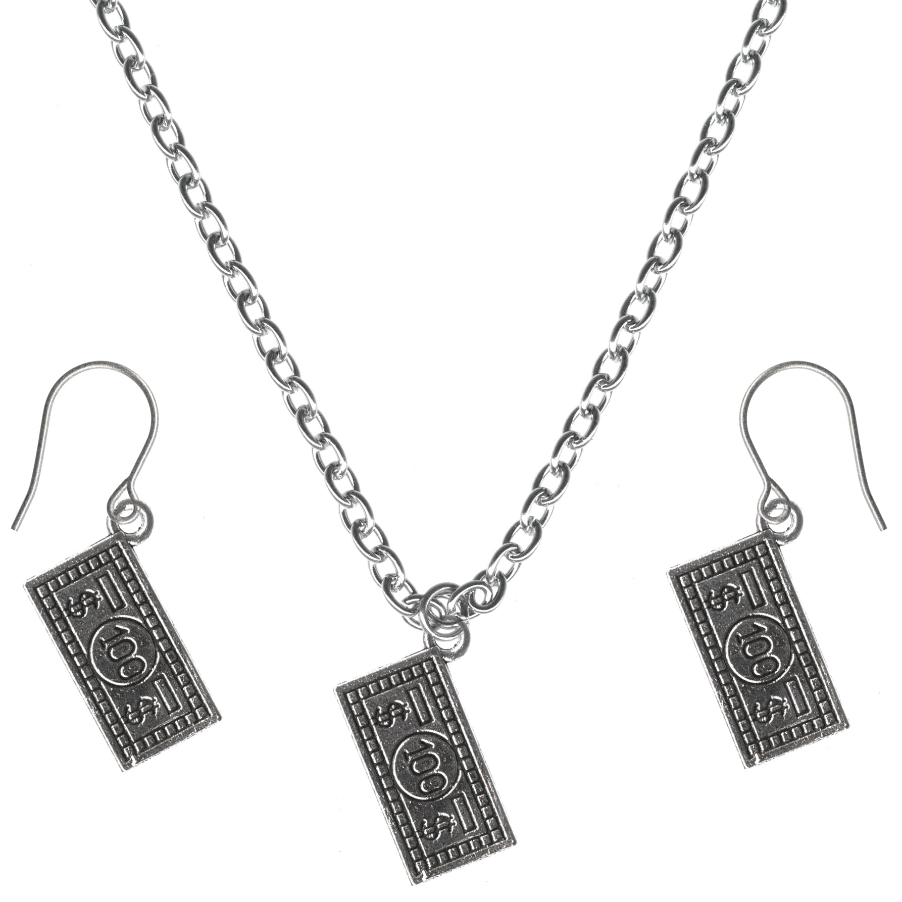 100 Dollar Bill Charm Steel Chain Necklace and Hypoallergenic Titanium Earrings Set