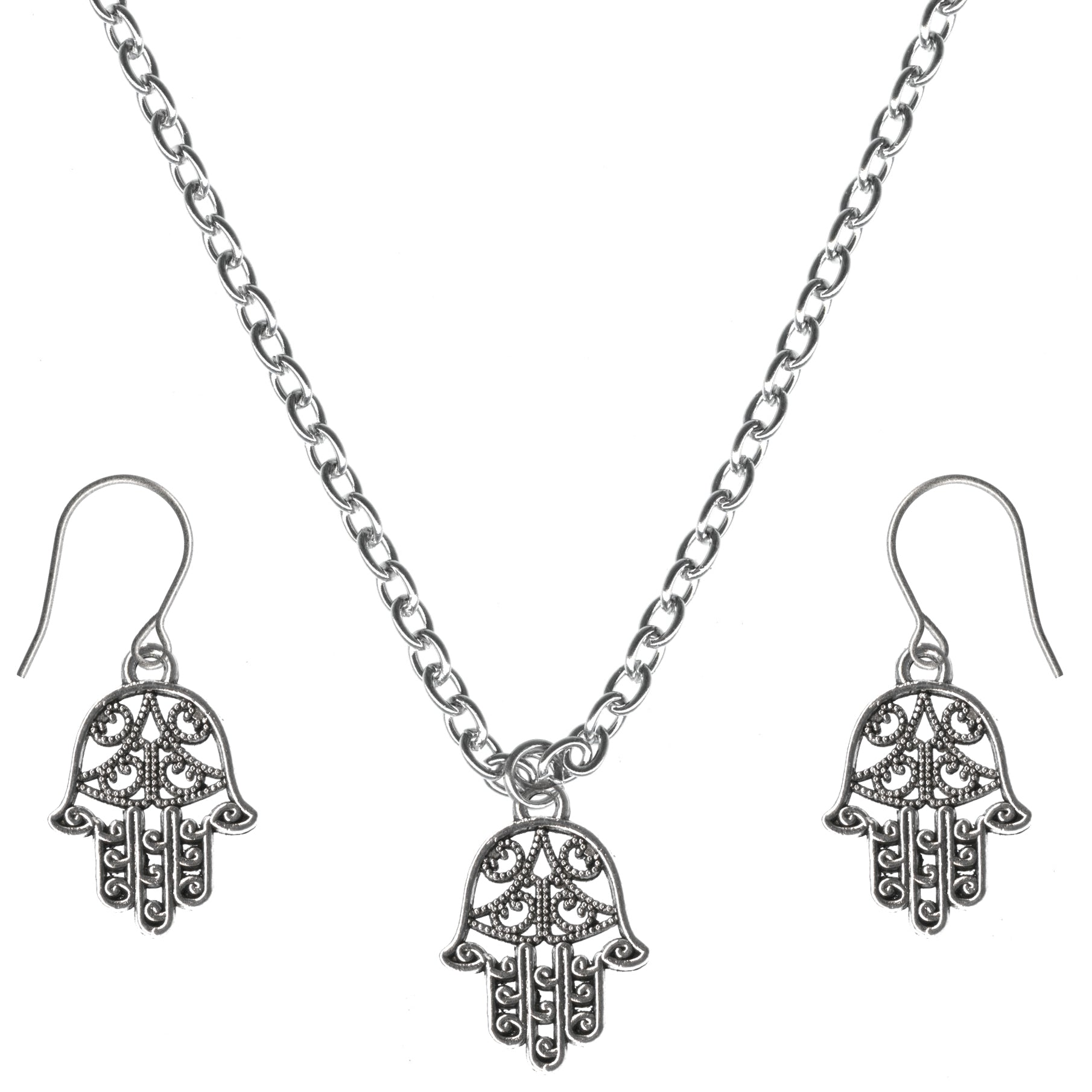 Lucky Protection Filigree Hamsa Charm Steel Chain Necklace and Hypoallergenic Titanium Earrings Set