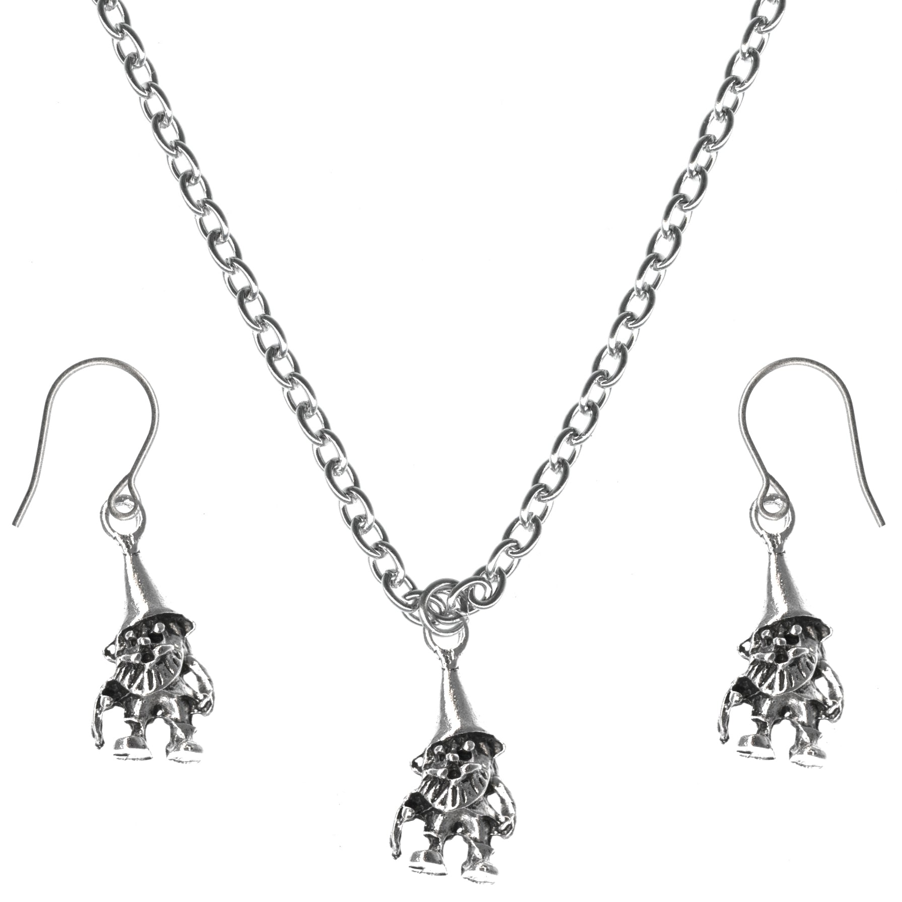 Gnome Charm Steel Chain Necklace and Hypoallergenic Titanium Earrings Set