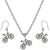 Bicycle Cute Bike Charm Steel Chain Necklace and Hypoallergenic Titanium Earrings Set