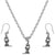 Microscope Science Charms Steel Chain Necklace and Hypoallergenic Titanium Earrings Set