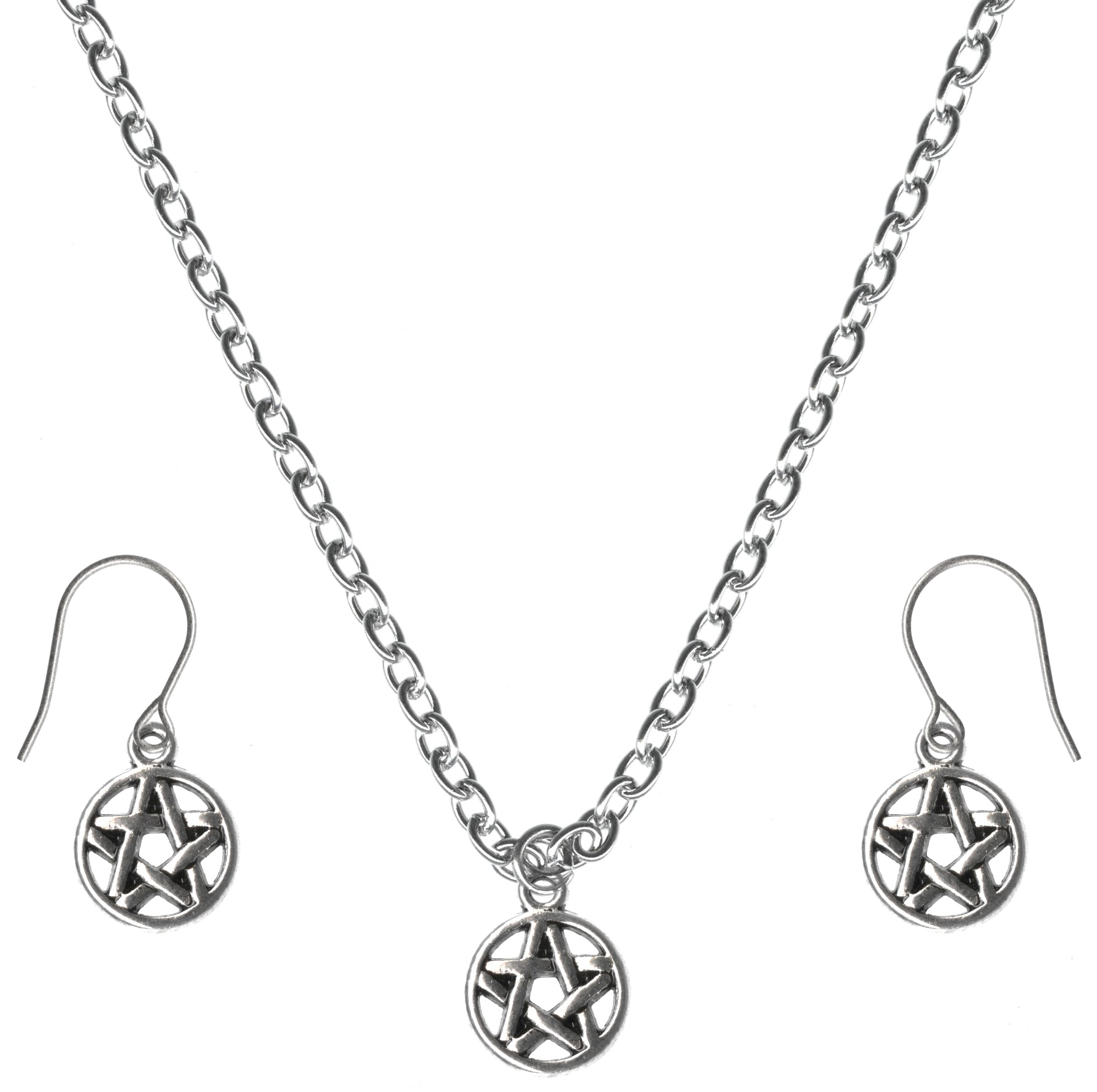 Mini Pentacle Charm Steel Chain Necklace and Hypoallergenic Titanium Earrings Set