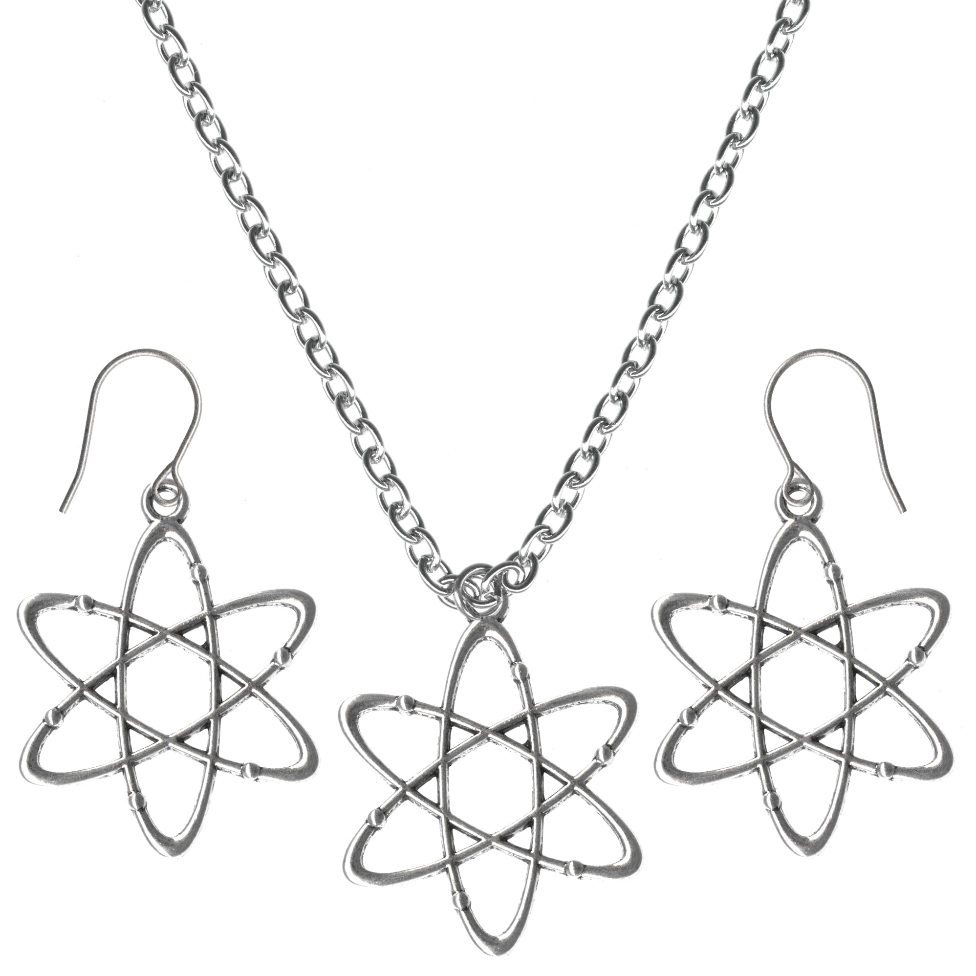 Science Atom Big Charms Steel Chain Necklace and Hypoallergenic Titanium Earrings Set