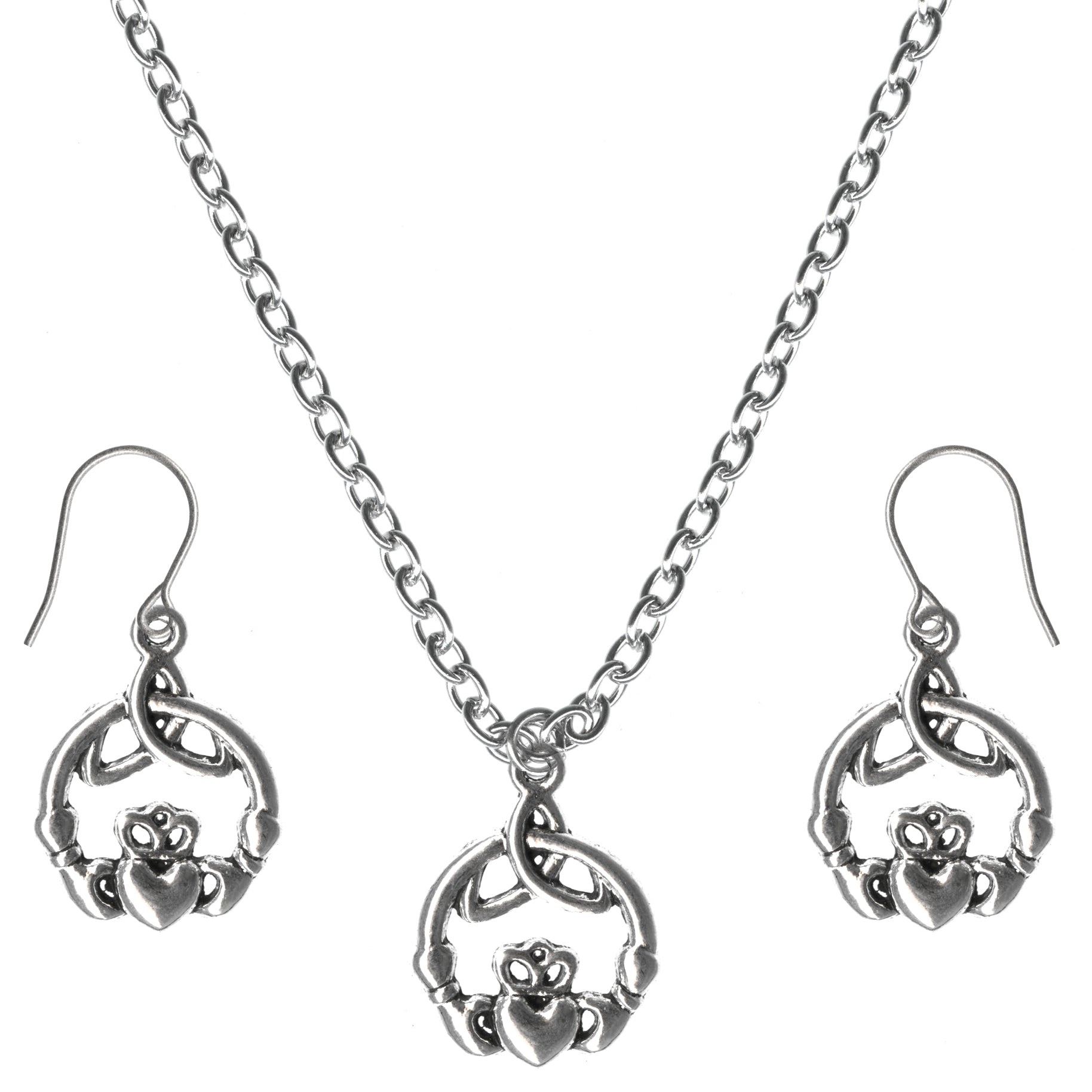 Irish Claddagh for Loyalty Friendship Charm Steel Chain Necklace and Hypoallergenic Titanium Earrings Set