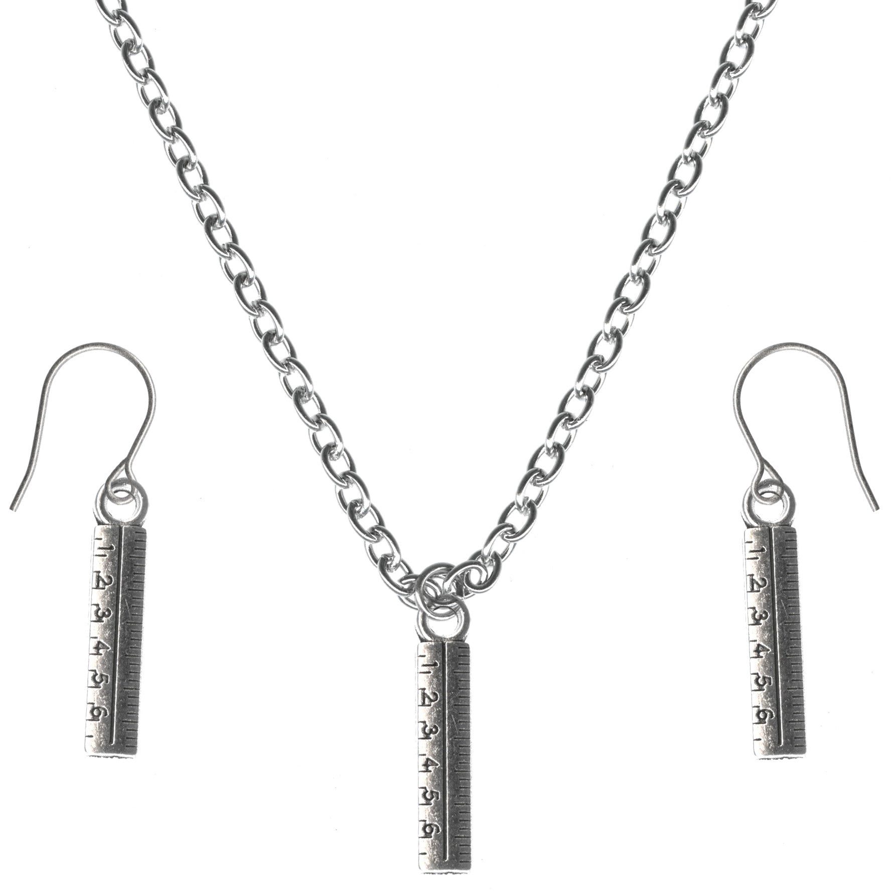 Ruler Charms Steel Chain Necklace and Hypoallergenic Titanium Earrings Set