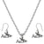 Aloha Charm Steel Chain Necklace and Hypoallergenic Titanium Earrings Set