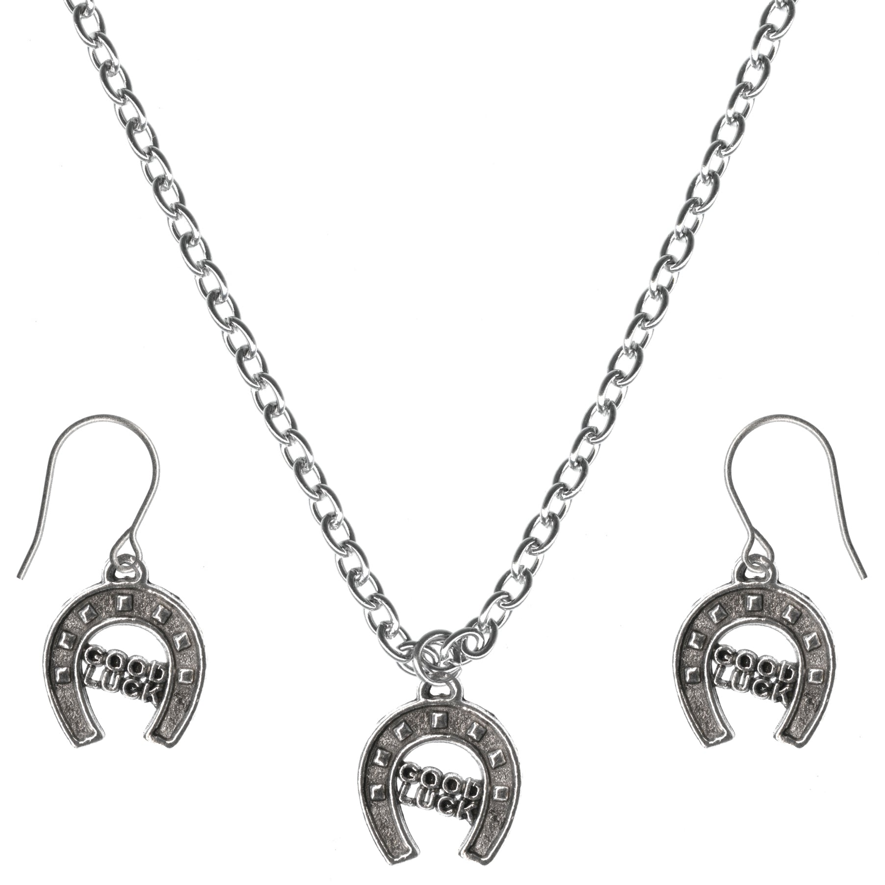 Good Luck Horseshoe Charm Steel Chain Necklace and Hypoallergenic Titanium Earrings Set