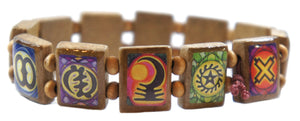 My Altar Ancient Adinkra Symbols Prayer Brown Wood Stretch Bracelet