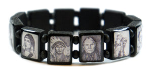 Native American Indian Black Bohemian Wood Stretch Bracelet