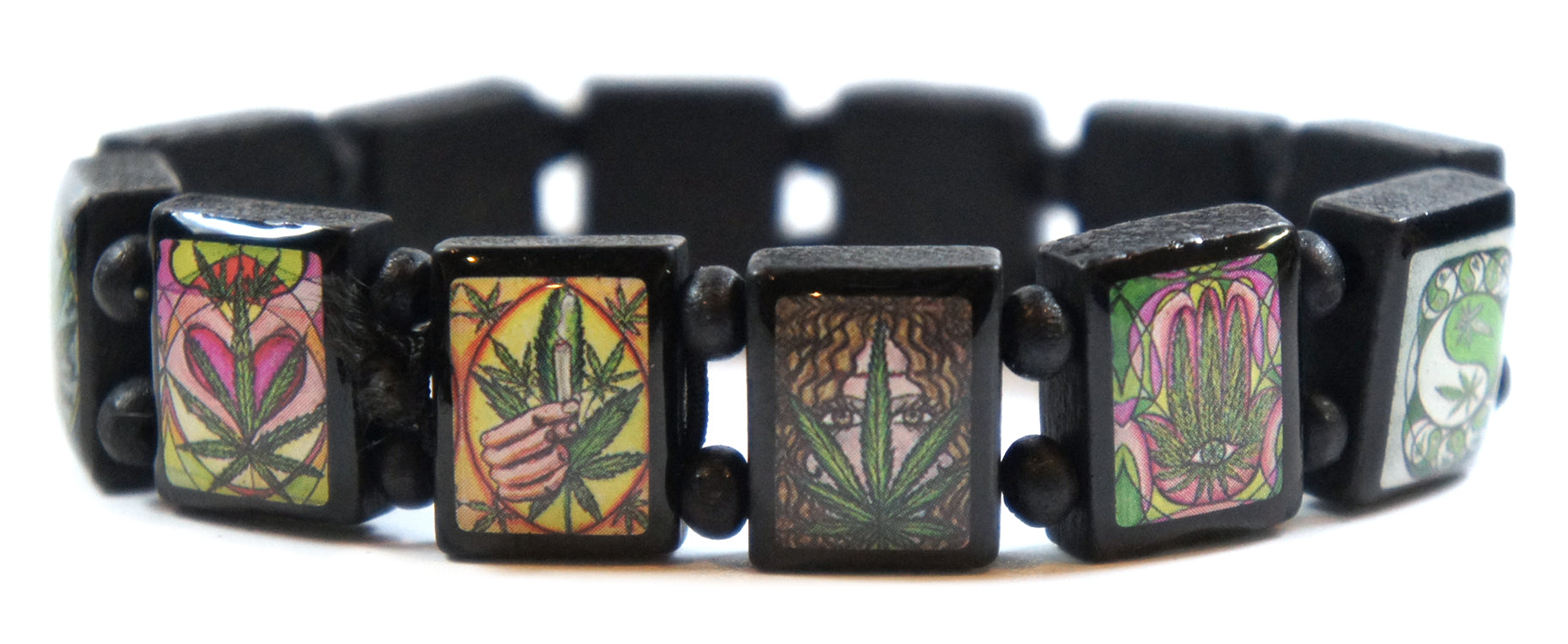 Marijuana Lovers Black Wood Stretch Prayer Bracelet