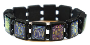 Rune Symbols Cool Tones Black Wood Stretch Prayer Bracelet