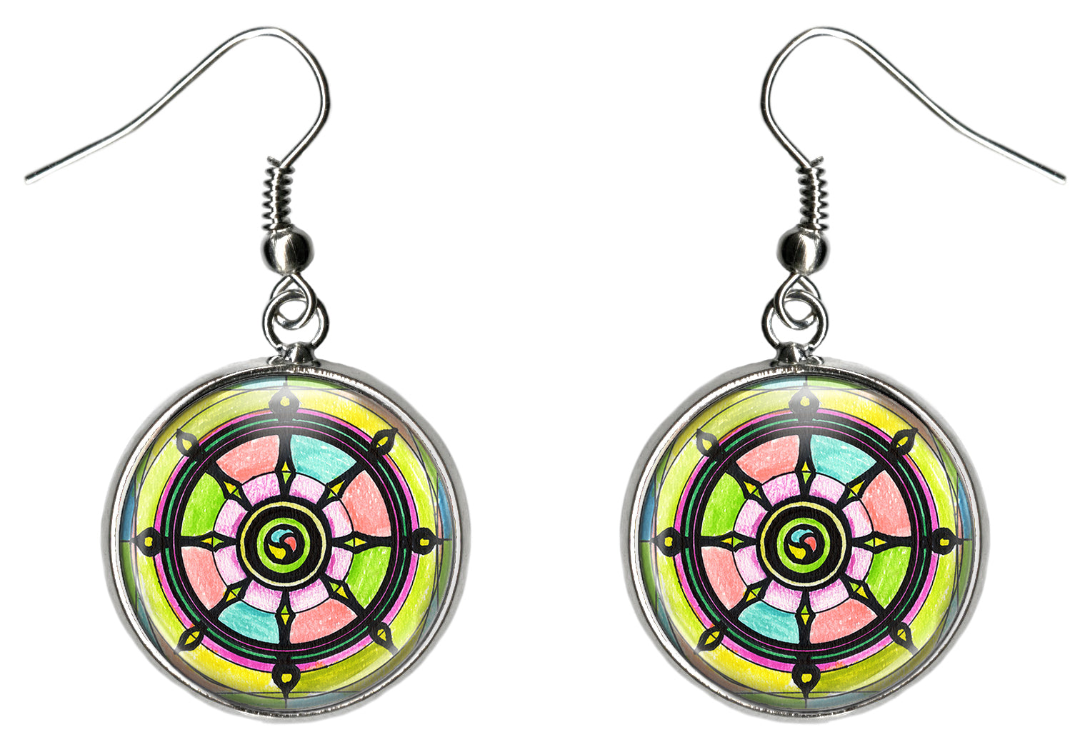 Dharma Wheel of Karma Silver Surgical Stainless Steel Hypoallergenic Earrings