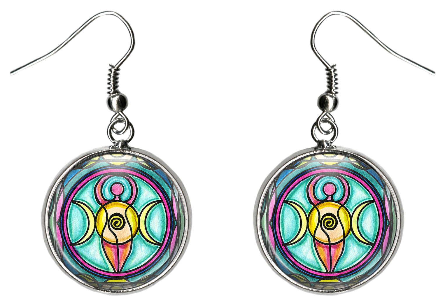 Triple Moon Goddess Silver Surgical Stainless Steel Hypoallergenic Earrings