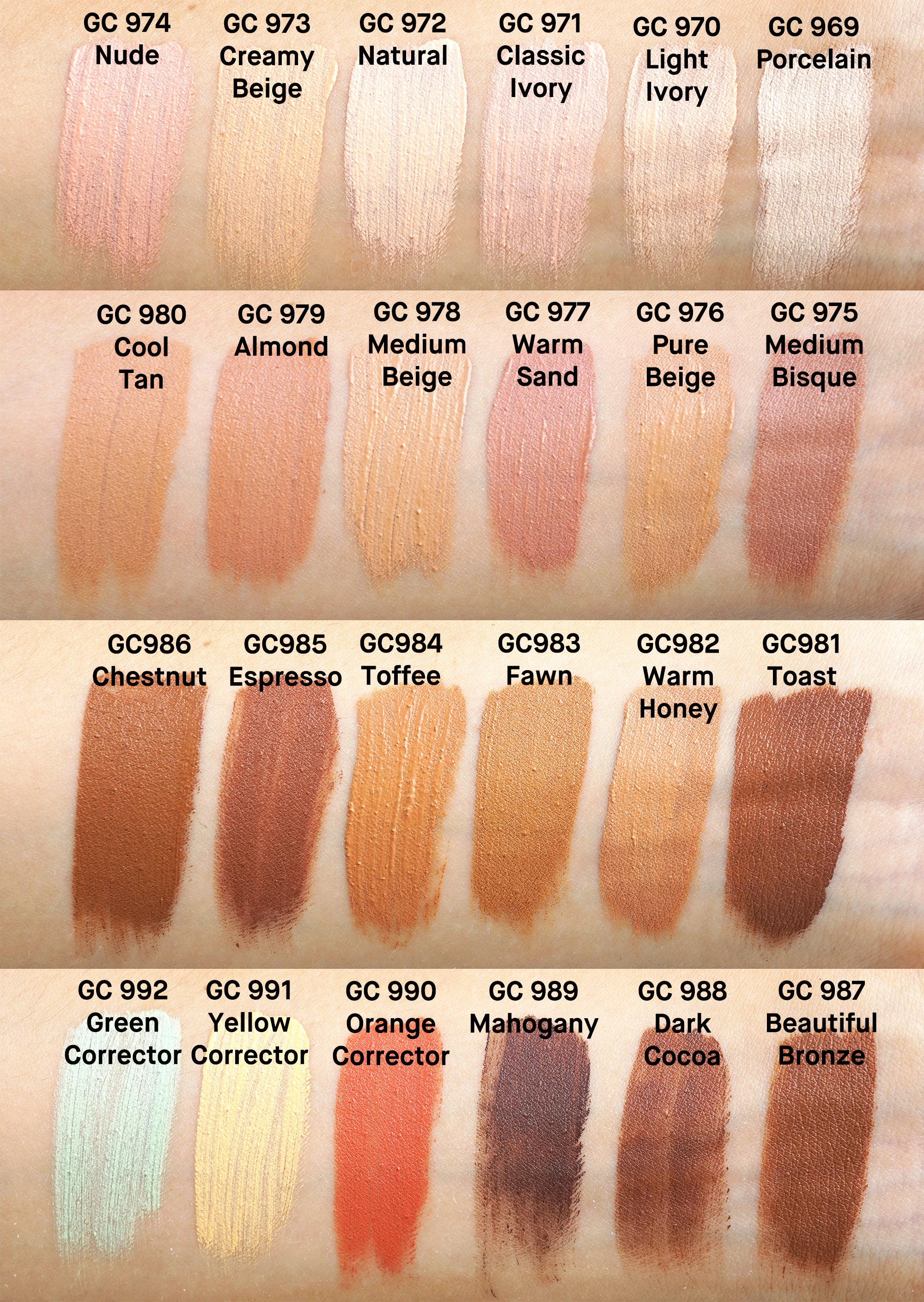Makeup revolution concealer swatches conceal and define