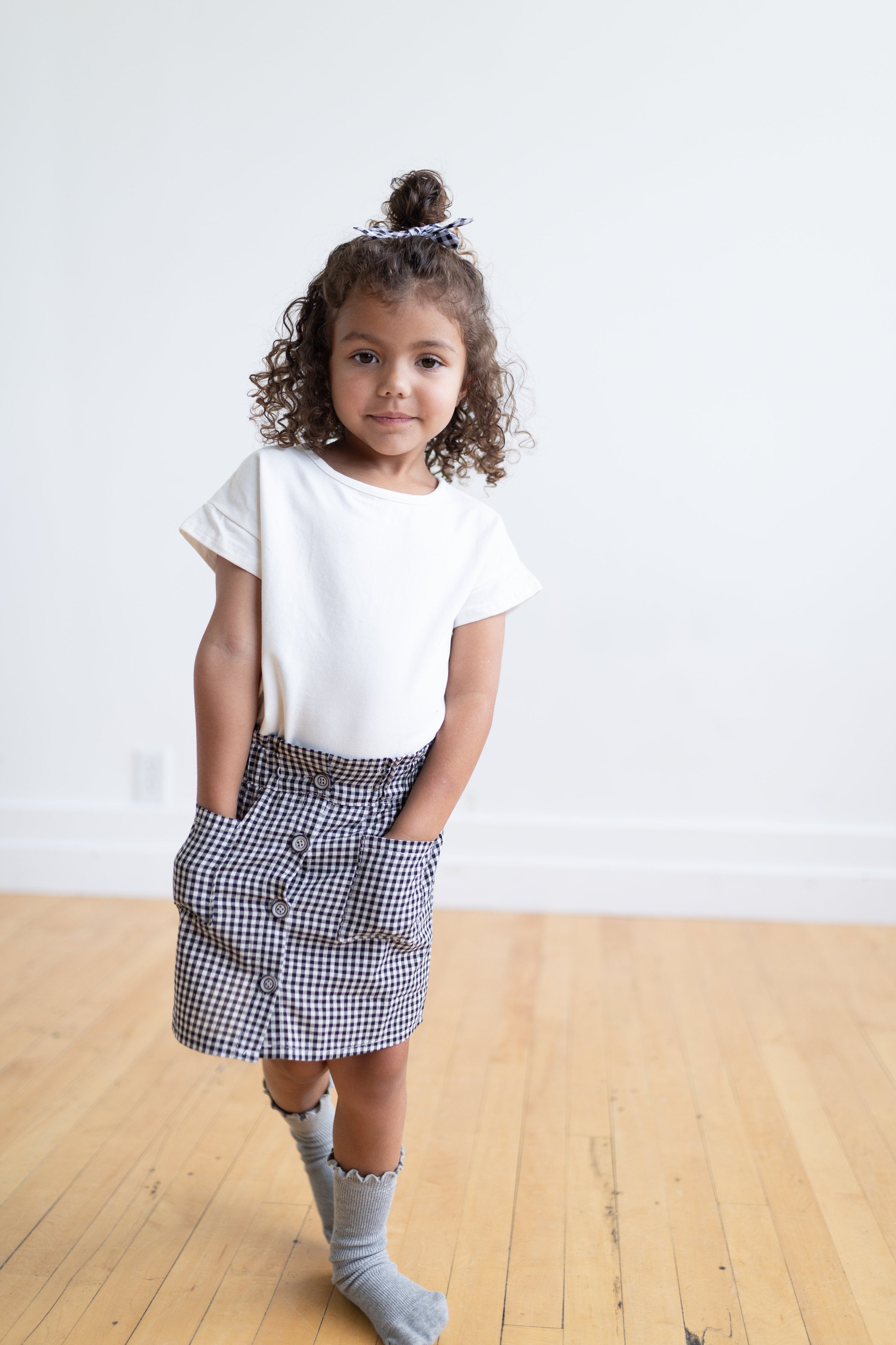 gingham button skirt