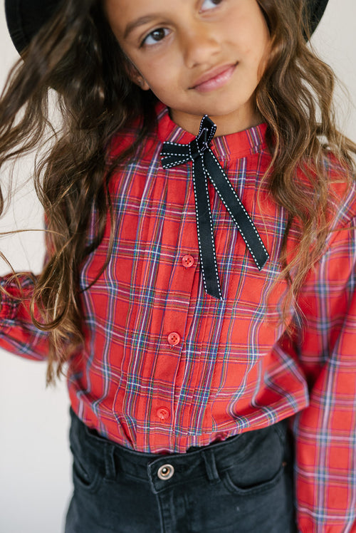 PLAID BOW TOP